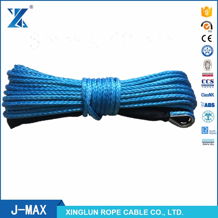J-MAX UHMWPE 18mm 12 strand atv synthetic winch rope brake line with hook