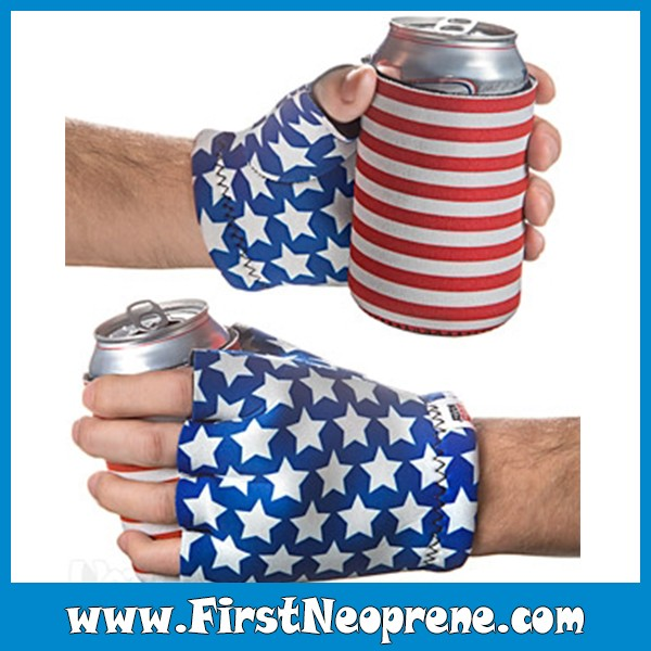 America flag Hands Warmer Neoprene Printed Insulated Can Cooler