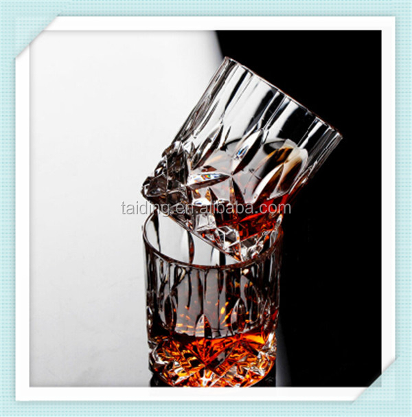 Leed free crystal glass whisky cup embossed logo whisky cup engraved glass cup rock glass for sale