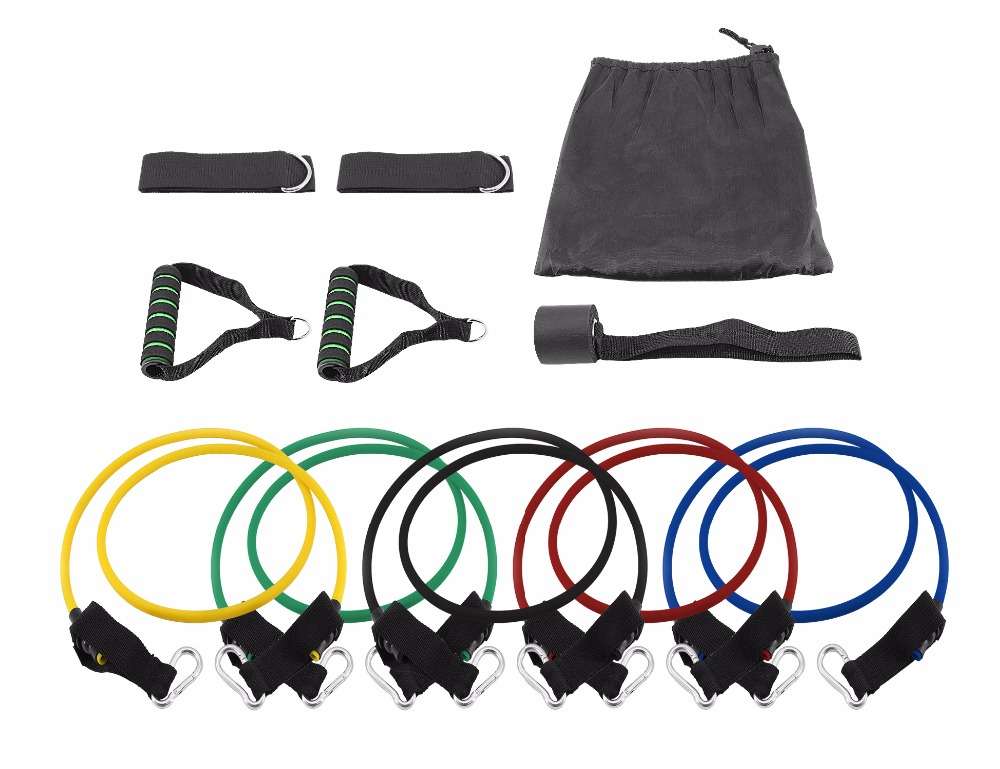 gym fitness resistance band tube set with foam handle