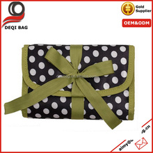 Green Ribbon Polka dots Travel Jewelery organizer roll up accessories travel bag cosmetic makeup bag