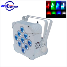 2015 wholesale night club lighting DMX 9 lens 4W RGBW 4in1 wireless battery powered led uplights par can