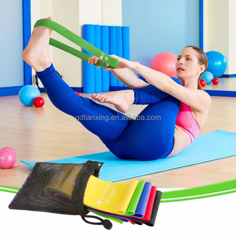 100% Factory Pilates Exercise Bands,Latex Resistance Belt,Yoga Stretch Band for <strong>fitness</strong>