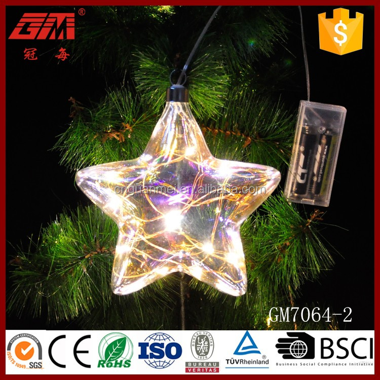 Factory direct sale clear Christmas tree decorative glass led star