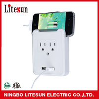 LA-2SA 2 outlets surge protected current tap with USB charging ports and smartphone cradle