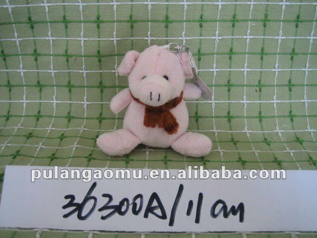 Stuffed Key Chain Animal Toys Pig wearing Scarf