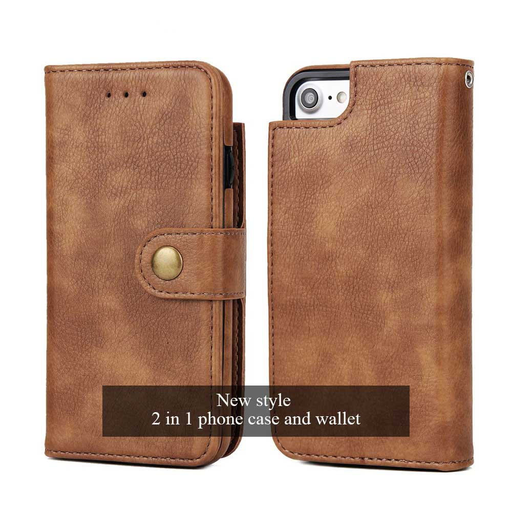 2018 New Design Wallets Top Leather Card Holder Multifunction Phone Case Handbags Men Women Bags with Phone Wallet