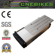 Green safety electric bike rack type battery 48v 14ah with luggage carrier
