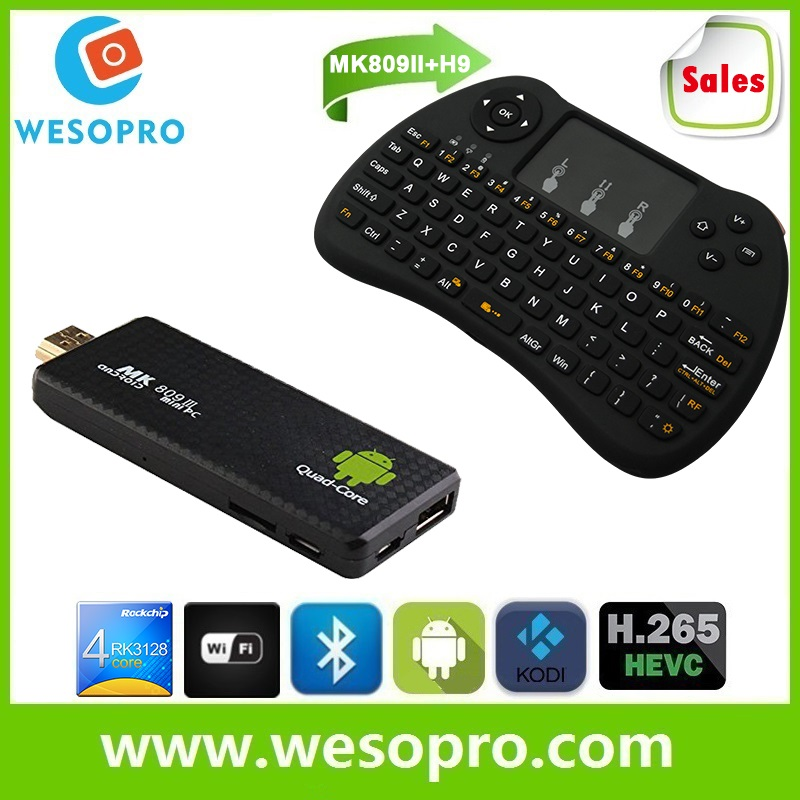 MK809II Smart TV Stick/Mini PC/android TV Dongle with Dual core RK3128 1GB RAM 8GB ROM Bluetooth