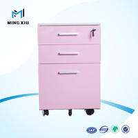 2016 popular pink color three drawers steel movable pedestal in fashion design