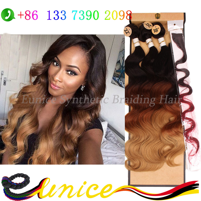 Human Hair Weft Cheap Synthetic Body Wave Hairstyle 3 Tone 3 Bundles Hair Weft 1 Piece Closure Bundle Mini Closure Cosplay Hair