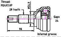 STEERING AND SUSPENTION PARTS C.V. JOINT FOR ALFA TYPE