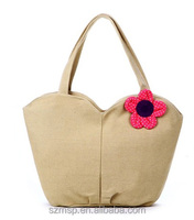 canvas woman gender natural gardon style handbag,cotton flower lady shoulder bag