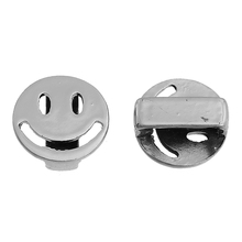 Wholesale Round Silver Tone Emoji Smiley Zinc Alloy Slide Beads