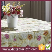 wholesale fancy polyester cotton fabric pvc tablecloth with non woven used square banquet tablecloth for sale