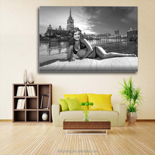 Black And White Single Pannel Sexy Girl Canvas Art Decoration Wall Decor Printed Painting for Living Room