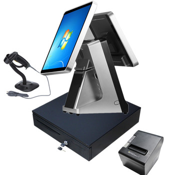 LKS-POS990D NEW 15 inch double screen flat capacitive touch screen pos terminal built in MSR and 58 80 mm thermal printer