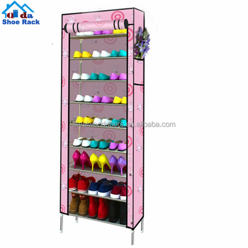 Modern metal frame shoe rack/ free standing trousers rack/ plastic cubby shoe rack