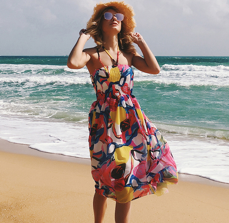 RH New Arrival Chiffon Casual Woman Clothing Wholesale Beach Women Dress in Summer