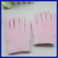 Beauty pink gloves feather yarns hand spa gloves