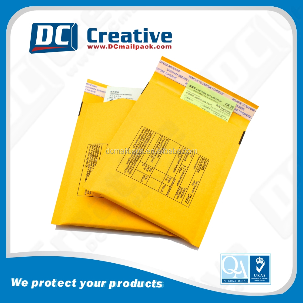 Wholasale gold kraft padded bubble mailers/kraft bubble mailer envelopes shipping bags