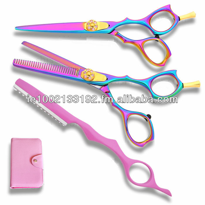 Professional Barber Titanium Multi Color Hair Shears Set, Razor Edge, Sturdy Convex Blades, Size 6""
