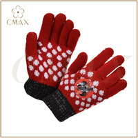 The best choice red acrylic/wool/cashmere jacquard aplique children knitted glove