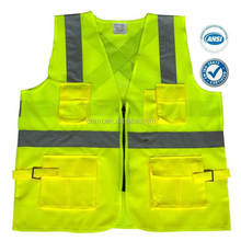 Unisex Breathable Adults Jackets yellow high visibility reflective safety vest with four pockests and zip