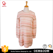Cheap women Long sleeve round collar striped chenille leisure pullover long thin sweater dress