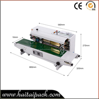 Horizontal Continuous Plastic Aluminum Foil Bag Heat Sealing Machine Band Sealer with Ink Wheel Code Printer