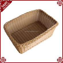 Woven synthetic washable plastic rattan vegetable storage basket for supermarket