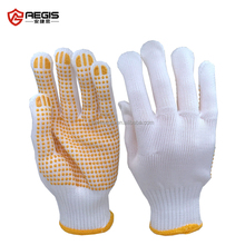 pvc dotted white cotton working glove