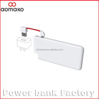20PCS/SET shipping free by post Credit Card Size 4000mah Power Bank Portable With Cable for smartphone