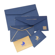 Custom design blue high quality business invitation envelope with hot stamping logo