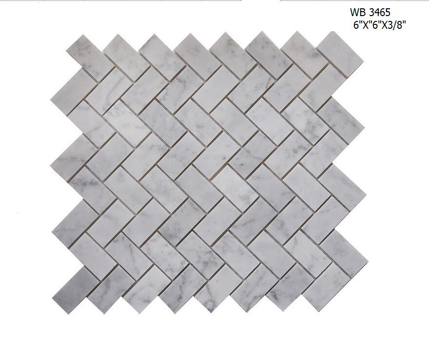 Polished White Carrara Marble Square Mosaic wall Tile