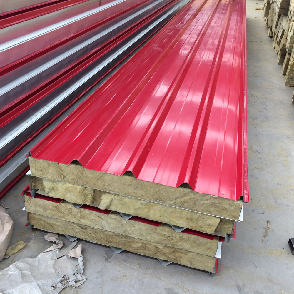 Color steel sandwich panel made of heatproof material to kerala for construction industry Resistance Weather and quick fabricat