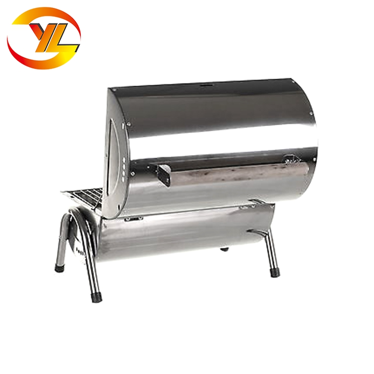 Stainless Steel Double Barrel Chacoal Grill camping bbq grill