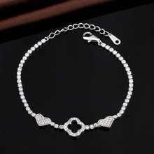 White Gold Plated Four Leaf Clover and Heart Shape Link Chain Brass Bracelets