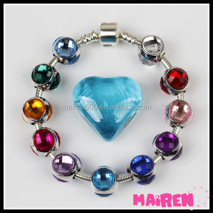 Colorful Birthstone slide European Alloy Charms Fit Snake Chain bracelet Charms