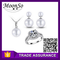 MOONSO pearl jewelry sets for bridesmaids mother of pearl jewelry KJ1584S