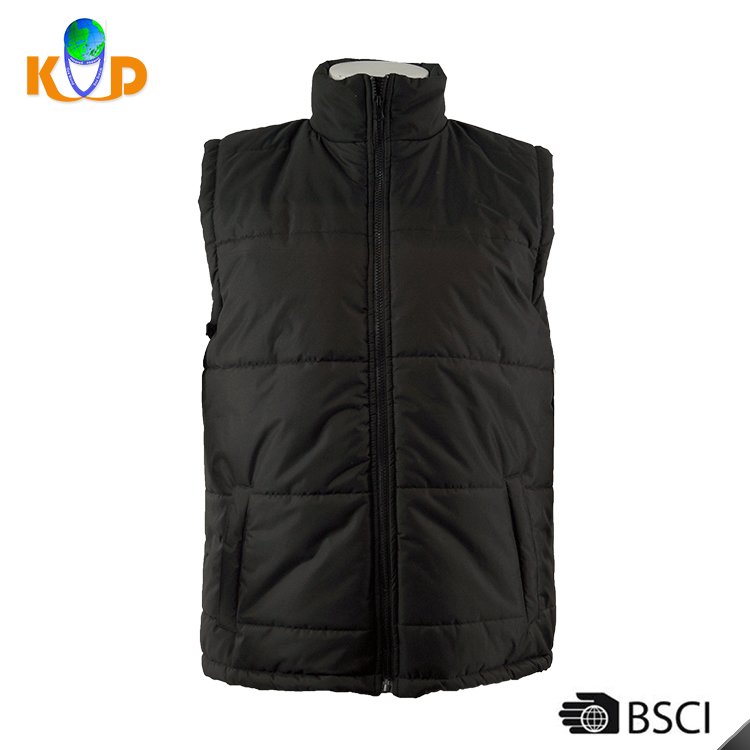 Professional Factory OEM Outdoor Ultralight 210T silk floss 100% polyester mens padded jacket black color men winter down vest