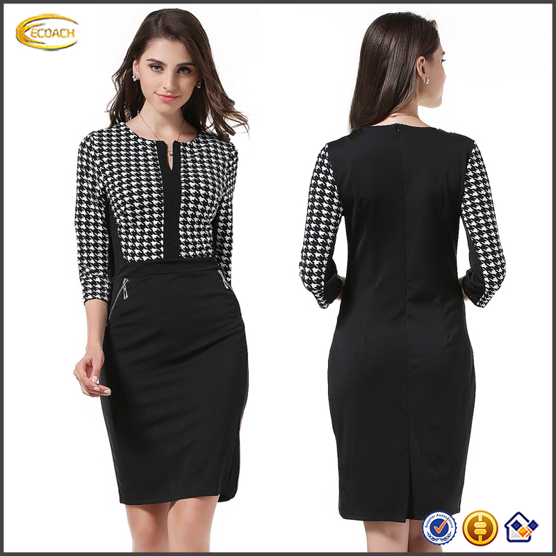 Cheap Knee Length Women Dress Elegant Tunic Office Female Work Dress Slim Bodycon Pencil Dresses