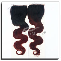 hot new products for 2015 Soft hair products cheap high quality body wave two tone woman hair closure
