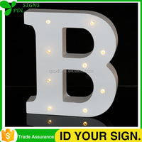 LED Lighted Marquee Sign Wooden Alphabet letter B