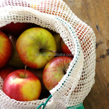 Wholesale eco friendly organic cotton mesh produce bags