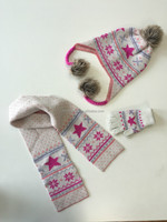 Children jacquard scarf,gloves and hat