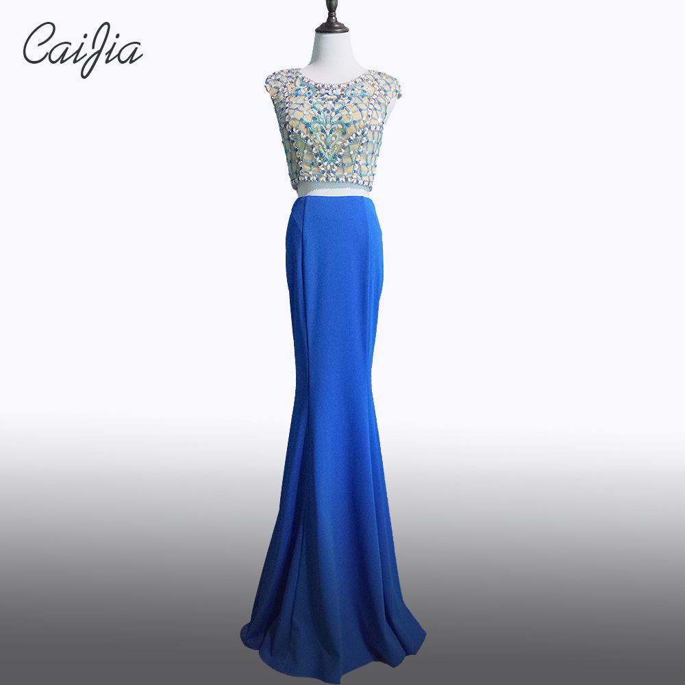 Caijia 2017 Blue Beading Cap Sleeve Two Pieces Mermaid Long Evening Dress