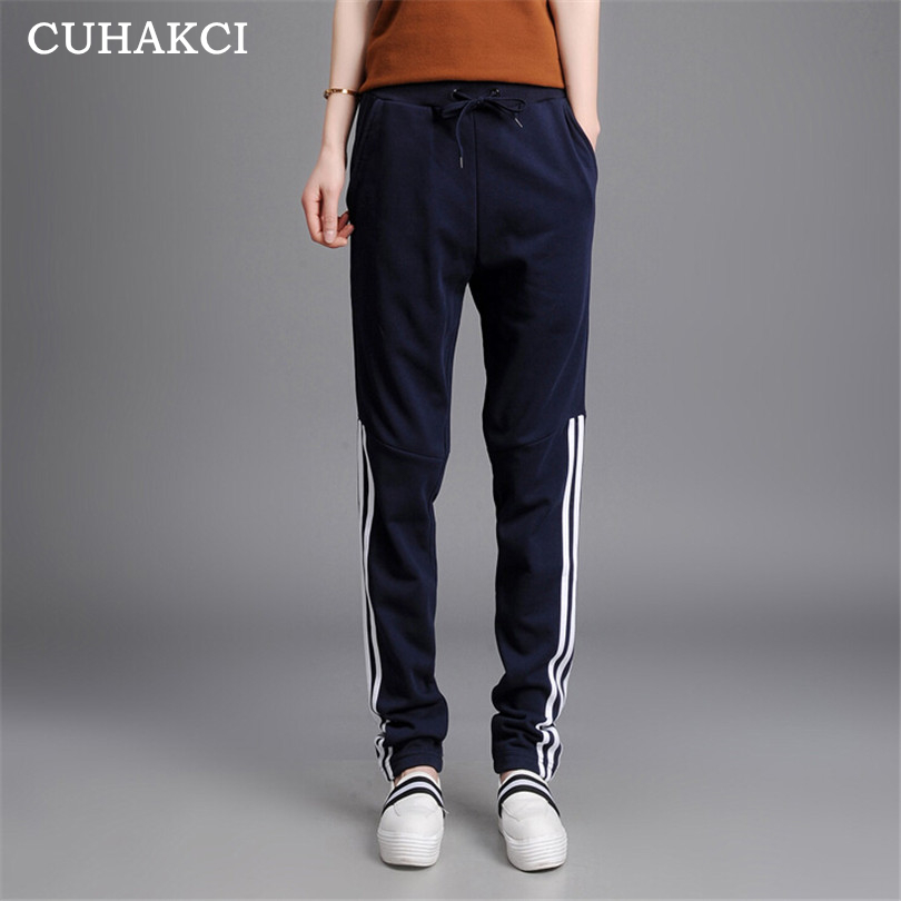 CUHAKCI Women Drawstring Cotton Sports Side Stripe Pencil Jogger Harem Pants