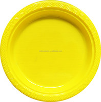 9''10'' yellow PS plastic wedding plates disposable plastic dishes pk/20 made in China