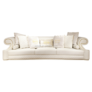 Hot modern high end Italian style luxury white sofa living room leather furniture